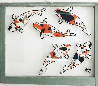 "Jeremy Novy, '""5 Koi - Right"" Spray paint on found glass in sage green window wood frame', 2021"
