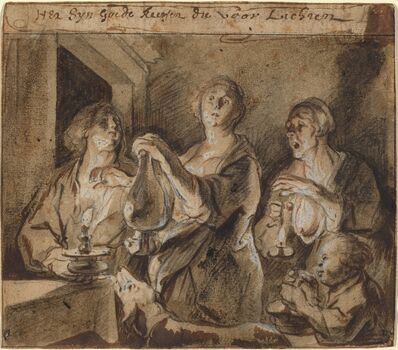 """Jacob Jordaens, '""""It is good candles which light the way""""', 1640s"""