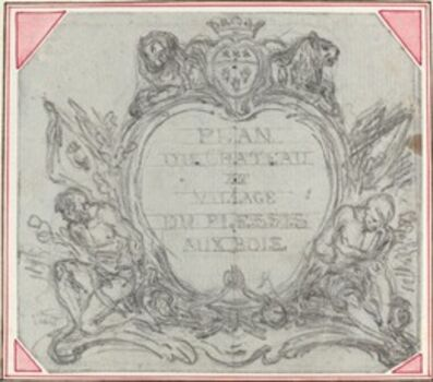 Gravelot, 'Title Cartouche for a Map of the Chateau and Village of Le Plessis aux Bois'