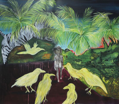 Leslie Amine, 'Woman, tiger and crows', 2016