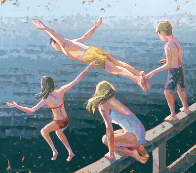 """Paul Norwood, '""""Rite of Summer"""" Acrylic impasto painting of four kids jumping into deep blue water', 2019"""