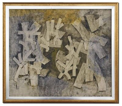 Shanti Dave, 'Untitled Abstract Composition Painting with Collage', 1960-1969