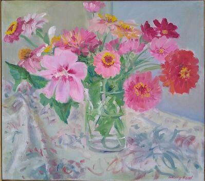 Nancy Beal, ' Rose of Sharon and Zinnias ', 2020