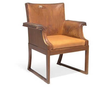Ole Wanscher, 'Very rare, large teak armchair with curvy armrests and runner legs. Sides, seat and back upholstered with patinated natural leather.'