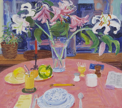 Nell Blaine, 'White Lilies, Pink Cloth', 1990