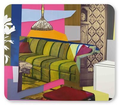 Mickalene Thomas, 'Interior: Yellow, Green and Blue Couch', 2018