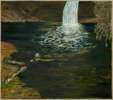Billy Childish, 'swimmer and waterfall', 2018