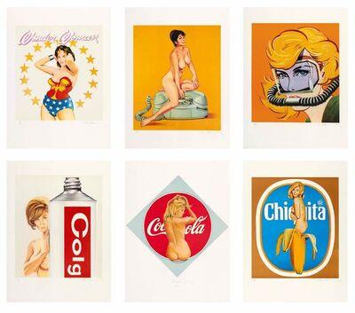 Mel Ramos, 'Six Girls (Wonder Woman. Chiquita. The Pause that Refreshes. Gardol Gertie. The Princess. Aqua Girl)', 1979
