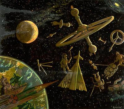 Renaldo Kuhler, 'Spacewalk Scene from Rocketship MDX', 1956
