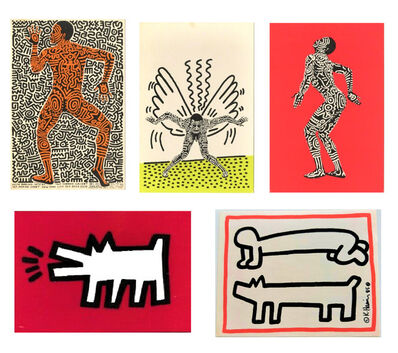 "Keith Haring, 'Set of 5 Invitations- ""Painted Man"" 1983, POP SHOP NYC 1980's, Club DV8 1987', 1980's"