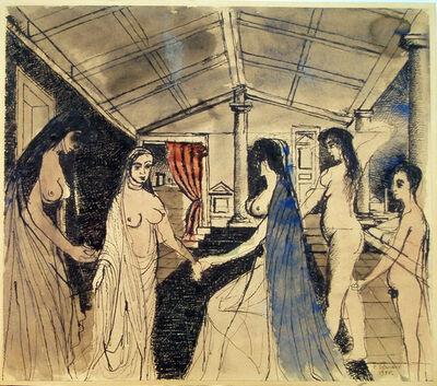 Paul Delvaux, 'La recontre', 1955