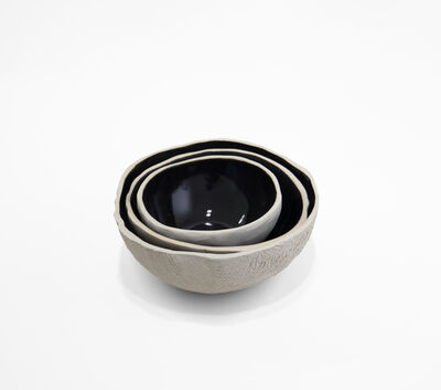 A-Z West, 'Black on White Ceramic Bowl', 2019