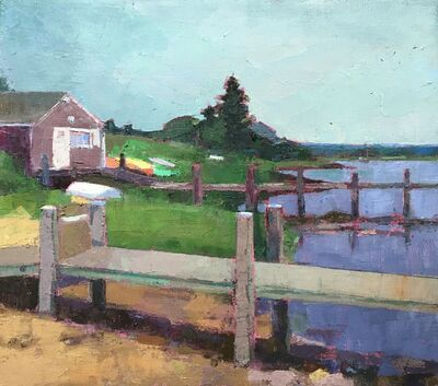 """Larry Horowitz, '""""Menemsha Docks"""" oil painting depicting a vibrant dock, luscious greenery, and expansive blue sky', 2021"""