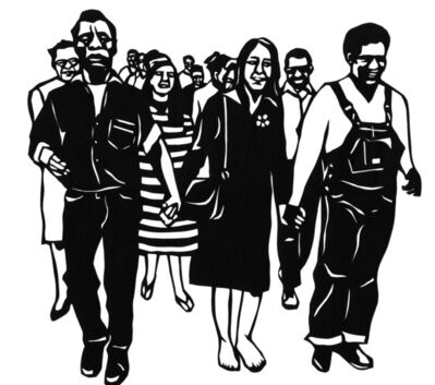 Miriam Klein Stahl, 'March for Civil Rights (James Baldwin, Joan Baez and George Foreman in the front)', 2020