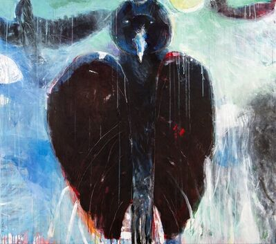 Rick Rivet, 'Nocturnal Being No 13 - raven, animal spirit, figurative, acrylic on canvas', 2021