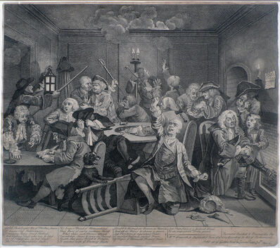 William Hogarth, 'A Rake's Progress, Plate 6: Scene in a Gaming House', 1735