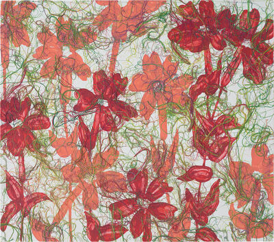 Ghada Amer, 'In Red and pale-RFGA', 2013