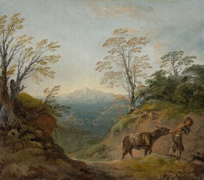 Thomas Gainsborough, 'Wooded Landscape with a Boy Leading a Donkey and Dog, and an Extensive Panorama with Buildings and Distant Hills', early 1760s