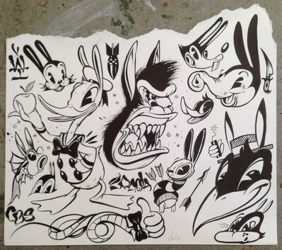 Greg 'Craola' Simkins, 'Cartoon Tattoo Flash Study', 2016