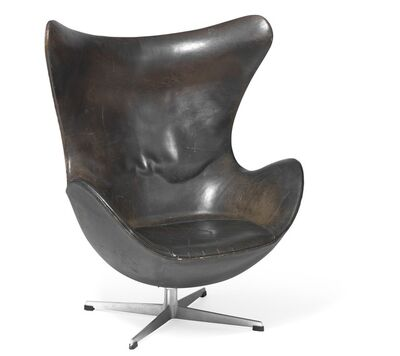 Arne Jacobsen, 'The Egg Chair. Early easy chair with profiled aluminum base. Sides, seat and back upholstered with original, patinated black leather.'