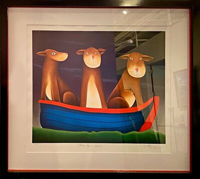 MacKenzie Thorpe, 'Three Dogs in a Boat', 2002