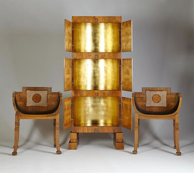 Carl Hörvik, 'Gilded cabinet and pair of small armchairs', 1925