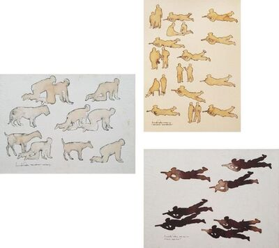 "Prasanta Sahu, 'Mock Practice, Mixed Media on Paper (Set of Three) by Contemporary Artist ""In Stock""', 2009"