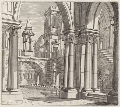 Giuseppe Antonio Landi, 'Architectural Fantasy with Buildings, Stairways, and Portals beside a Canal', before 1753