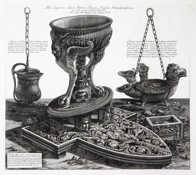 Giovanni Battista Piranesi, 'A perspective view of a Marble altar in the form of a tripod vase from Hadrian's Villa, between a multi-stemmed bronze lamp and a smaller lamp of bronze.', 1773-1778