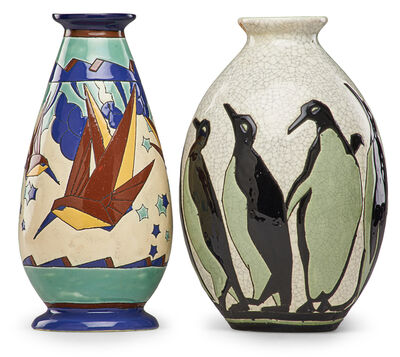 Charles Catteau, 'Two Art Deco Keramis vases with stylized birds and penguins'
