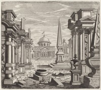 Giuseppe Antonio Landi, 'Architectural Fantasy with Obelisks, Ruins, and a Piazza', before 1753