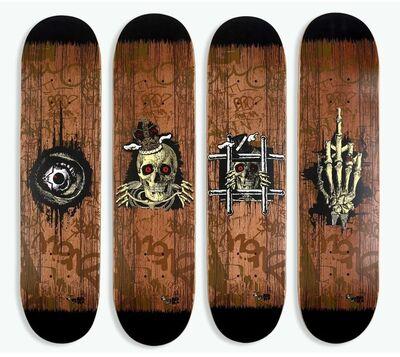 D*Face, 'Fuck U & Die, King Rip, Peep N Creep, Times UP Skate decks (set of 4)', 2012