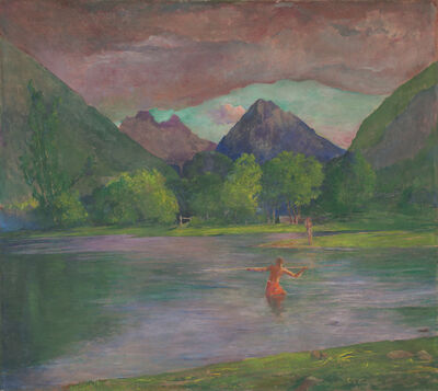 John La Farge, 'The Entrance to the Tautira River, Tahiti. Fisherman Spearing a Fish', ca. 1895