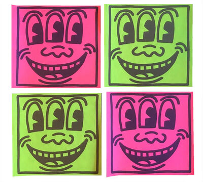 "Keith Haring, 'SET OF 4-  ""Three Eyed Smiling"", 1980's, POP Shop NYC, Stickers (unused), Green & Pink Neon , Self-Adhesive (unpeeled),', 1980's"