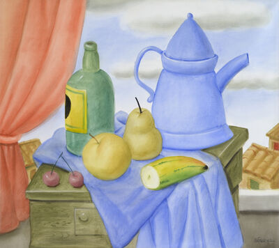 Fernando Botero, 'Still life with green bottle', 2002