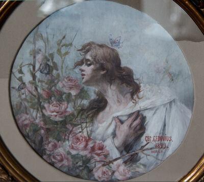 German Gedovius, 'Mujer con rosas', 1889