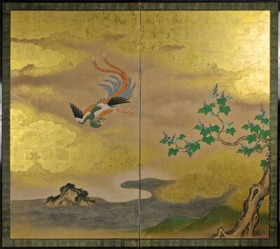 Kano School, 'Two Panel Screen with Phoenix and Paulownia', 18th century