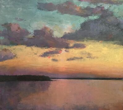 "Larry Horowitz, '""Cumulus Sunset"" oil painting of the sunsetting over water with clouds in the sky', 2020"