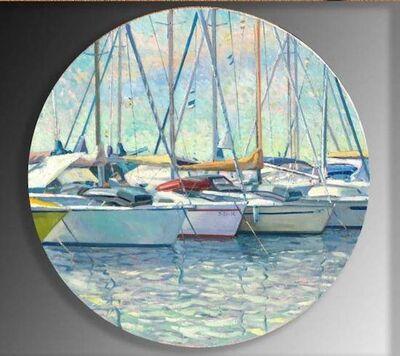 Juan del Pozo, 'Mooring - circular boat painting', 2020