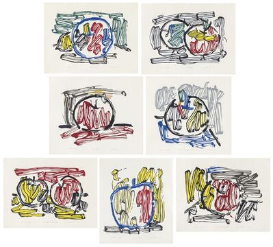 Roy Lichtenstein, 'Seven Apple Woodcut Series Complete Exhibition Portfolio', 1982-1983