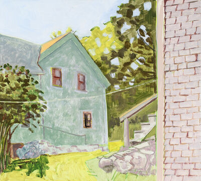 Lois Dodd, 'Barn Staircase + Side of House', 2017