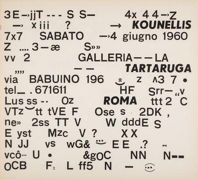 Jannis Kounellis, 'First solo exhibition', 1960
