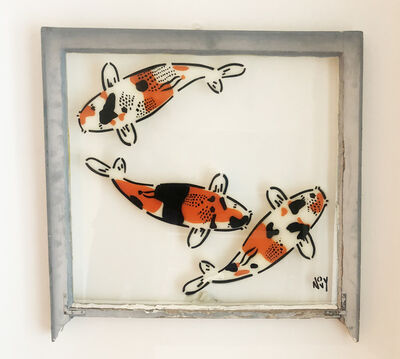 Jeremy Novy, '3 Koi on Window in Silver Frame ', 2019
