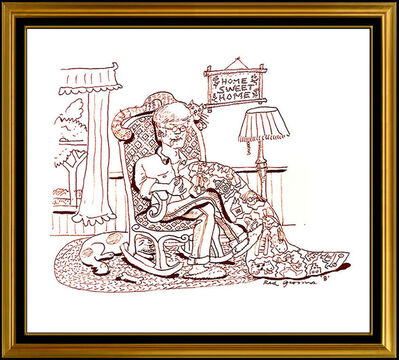 Red Grooms, 'RED GROOMS Original Ink DRAWING Hand Signed Caricature Modern Art painting Rare', 1984