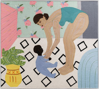 Cheryl Pope, 'Mother and Child on Blue Mat', 2021