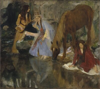 "Edgar Degas, 'Portrait of Mlle Fiocre in the Ballet ""La Source"" (Portrait de Mlle...E[ugénie] F[iocre]: à propos du ballet ""La Source"")', ca. 1867-1868"
