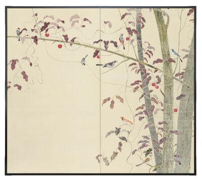 Takeo Kimura, 'Two-panel Screen, Birds and Autumn Trees (T-4343)', ca. 1930s