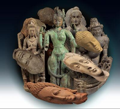 Ken Gonzales-Day, 'Transformation: Nepal, The Androgynous Form of Shiva and Parvati, (Ardhanarishvara); surrounded by, India, Head of Buddha Shakyamuni; Cambodia, Head of Buddha Shakyamuni; Indonesia, Brahma, the God of Creation; Pakistan, Buddha Shakyamuni; India, The Maharishi; India, Head of Buddha Shakyamuni (all LACMA)', 2019