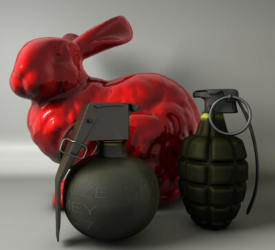 "Joe Doyle, '""Red Rabbit with Hand Grenades""', 2010"