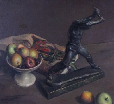 Foster Caddell, 'Still Life of Statue and Apples', ca. 1950